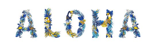 Illustration Tropical floral summer lettering hand drawn ALOHA. Illustration Tropical floral summer lettering ALOHA with monstera palm leaves, flowers, flamingo royalty free illustration