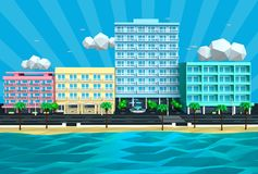 Illustration of tropical island beach street and hotels 3D Royalty Free Stock Photo