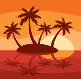 Illustration of tropical island with four palms Stock Photo
