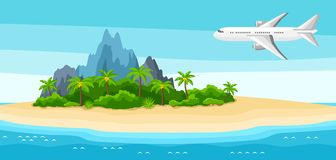 Illustration of tropical island in ocean. Landscape with airplane, palm trees and rocks. Travel background.  Royalty Free Stock Image