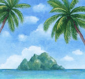 Illustration of the tropical island Royalty Free Stock Images