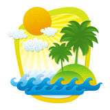 Illustration with tropical landscape Royalty Free Stock Images