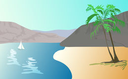 Illustration  of tropical landscape -    beach wit Stock Photography