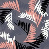 Illustration - tropical leaves on a gray background royalty free illustration