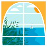 Illustration with tropical sea landscape Royalty Free Stock Image