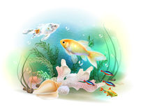 Illustration of the tropical underwater world. Royalty Free Stock Photo