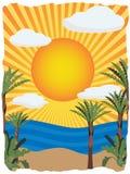 Illustration tropicale lumineuse ensoleillée de vecteur Image libre de droits