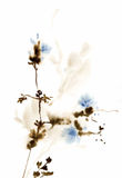 Illustration trouble de fleurs d'aquarelle bleue Photo libre de droits