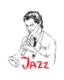 Illustration of a trumpeter Royalty Free Stock Images