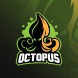Illustration, tshirt och emblem för design för logo för bläckfisksportmaskot royaltyfri illustrationer