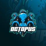 Illustration, tshirt och emblem för design för logo för bläckfisksportmaskot ilsken bläckfiskillustration med styrande cirkeln stock illustrationer