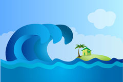 Illustration tsunami. Illustration sea wave height were ready to drown the earth Stock Photos
