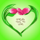 Illustration with tulip flowers in shape of heart Stock Photography