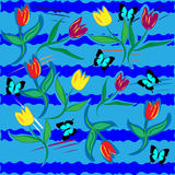 Illustration with tulips. And butterfly Stock Image