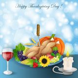 Illustration of turkey, fruits and wine in Thanksgiving dinner Stock Images