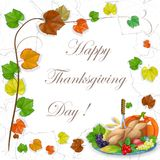 Illustration of turkey, fruits and wine in Thanksgiving dinner Royalty Free Stock Photos