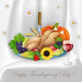 Illustration of turkey, fruits and wine in Thanksgiving dinner Stock Photos