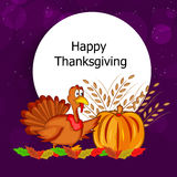 Illustration of Turkey with wheat and pumpkin for Thanksgiving. Illustration of turkey with wheat and pumpkin ion white background Royalty Free Stock Photo