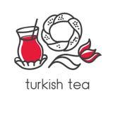 Illustration turque d'ensemble de griffonnage de vecteur de thé Photo libre de droits