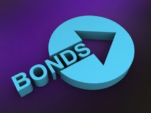 Bonds sign. An illustration of a turquoise bonds sign on a purple background Stock Photography