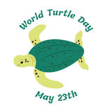 Illustration of the turtle for the World Turtle Day. 23th of May Royalty Free Stock Image