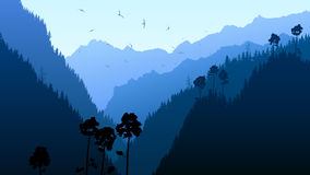 Illustration of twilight in mountain forest. Royalty Free Stock Photography