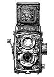Illustration of twin-lens reflex camera Stock Photos