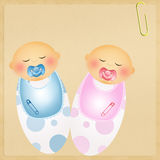 Illustration of twins. Illustration of baby child with pacifier Royalty Free Stock Photo