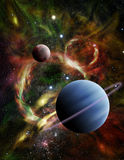Illustration of Two Alien Planets in Deep Space. Illustration - A pair of alien planets float among the stars and a fiery nebula in deep space Stock Photos