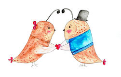 Illustration of two birds in love Stock Photography