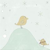 Illustration of two birds in snow with big  snowflakes. Outdoors at blue background Stock Photos