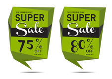 Two sale tickets with price reductions Royalty Free Stock Images