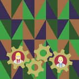 Illustration of Two Business People Each Inside Colorful Cog Wheel Gears photo. Creative Background Idea for Team. Two Business People Each Inside Colorful Cog stock illustration