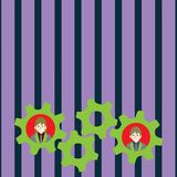 Illustration of Two Business People Each Inside Colorful Cog Wheel Gears photo. Creative Background Idea for Team. Two Business People Each Inside Colorful Cog vector illustration