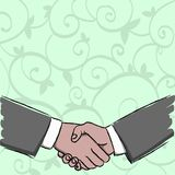 Illustration of Two Businessmen Shaking Hands Firmly as Gesture Form of Greeting, Welcoming, Closed Deal or Agreement. Businessmen Shaking Hands Firmly as royalty free illustration