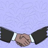 Illustration of Two Businessmen Shaking Hands Firmly as Gesture Form of Greeting, Welcoming, Closed Deal or Agreement stock illustration