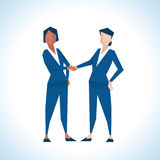 Illustration Of Two Businesswomen Shaking Hands Stock Photo
