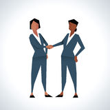 Illustration Of Two Businesswomen Shaking Hands Royalty Free Stock Photos
