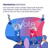 Illustration Two Candidat Presidential Elections. Banner Vector Group People are Watching Debate Man and Woman from Scene. Decide for whom Give your Vote stock illustration
