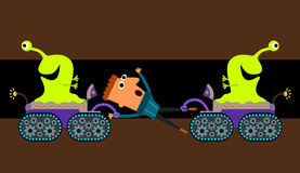 Alien rivalry. Illustration of two cartoon aliens pulling a man on separate ways Stock Image