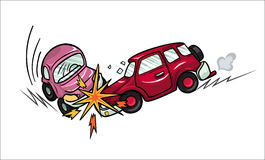 Illustration of two cartoon cars involved in a car wreck. Royalty Free Stock Photography