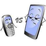 Old push-button phone versus a modern smart phone. Stock Photos