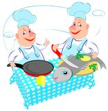 Illustration of two cheerful cooks preparing fish in the kitchen. Advertising for the restaurant. Vector cartoon image. Scale to any size without loss of Stock Photo