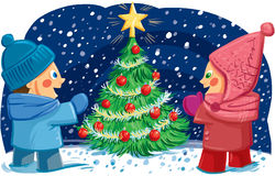 Illustration with two children enjoying the christmas tree Stock Photos