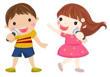 Two children singing Royalty Free Stock Images