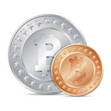 illustration of two coins with bitcoin sign Royalty Free Stock Photo