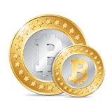 illustration of two coins with bitcoin sign Stock Photo