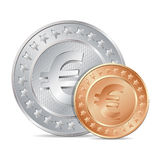 illustration of two coins with euro sign Royalty Free Stock Image