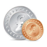 illustration of two coins with pound sign Royalty Free Stock Photos