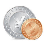illustration of two coins with yen sign Royalty Free Stock Photos